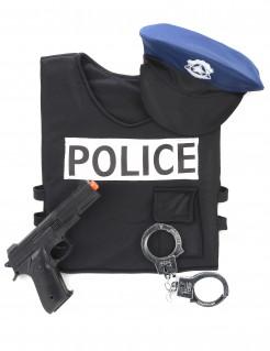 Polizeikostüm-Set für Kinder 4-teilig schwarz