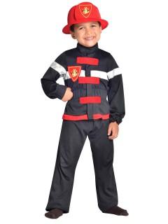 Feuerwehr-Kinderkostüm Uniform schwarz