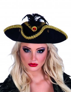 Piraten-Dreispitz für Damen schwarz