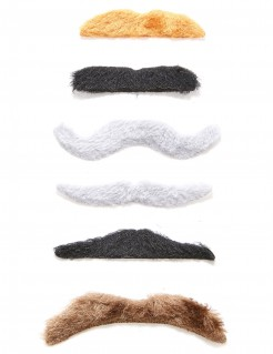 Selbstklebendes Schnurrbart-Set 6-teilig bunt