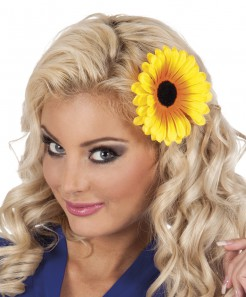 Sonnenblumen-Haarklammer Hippie-Accessoire gelb-schwarz 11cm