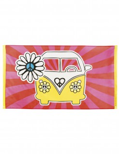 70er Hippie Banner Flagge Party-Deko bunt 90x150cm