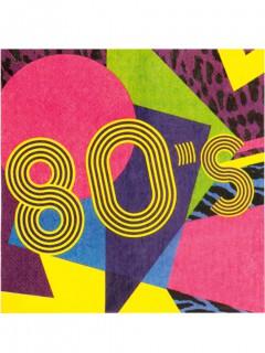 80er-Servietten 80er-Jahre-Partydeko 12 Stück bunt 33x33cm