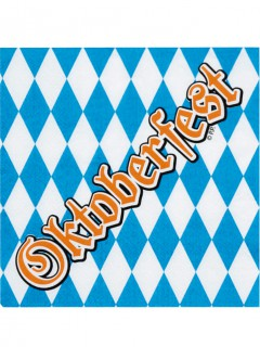 Oktoberfest-Servietten Papierservietten 12 Stück blau-weiss-braun
