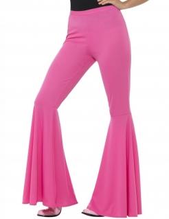 70er Disco Damen-Stretch-Schlaghose rosa