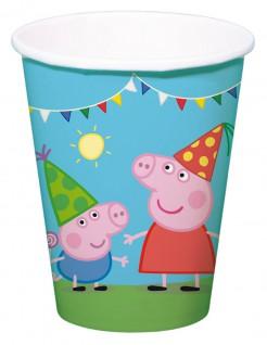 Peppa Wutz™ Partybecher Kindergeburtstag Lizenzware 8 Stück bunt 250ml