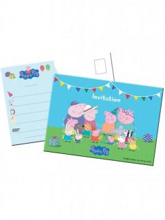 Peppa Wutz™ Einladungskarten-Set für Kindergeburtstage 8 Stück bunt