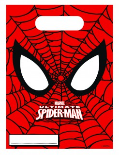 Ultimate Spiderman™ Geschenktüten Party-Accessoire Lizenzware 6 Stück rot-schwarz