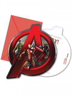 Avengers-Einladungskarten mit Umschlag Age of Ultron Lizenzartikel 6 Stück bunt