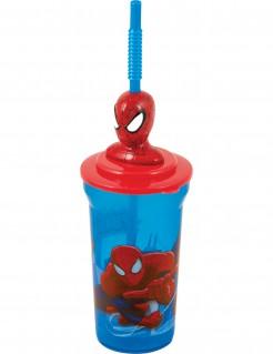 Spiderman™-Becher mit Trinkhalm Lizenzartikel