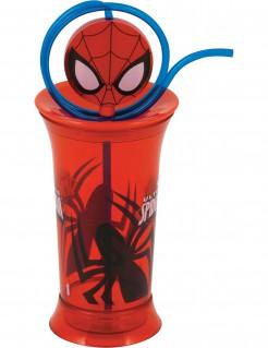 Spiderman™-Plastikecher mit Trinkhalm rot
