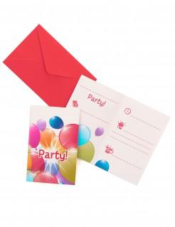 Einladungskarten mit Briefumschläge Luftballons bunt