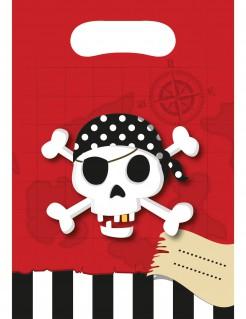 Piraten-Geschenktüten Kindergeburtstag6 Stück schwarz-weiss-rot