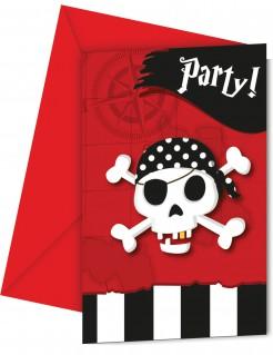 Piratenparty Einladungskarten Kindergeburtstag 6 Stück schwarz-weiss-rot