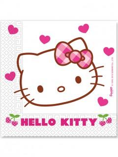 Hello Kitty™ Partyservietten Kindergeburtstag Lizenzware 20 Stück weiss-pink 33x33cm