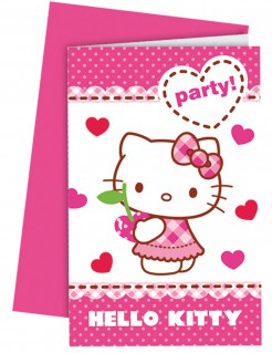 Hello Kitty™-Einladungskarten und Umschläge 6 Stück
