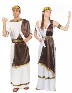 Römer und Römerin Kostüm-Set für Paare weiss-braun-gold