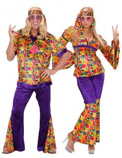 Hippie-Blumen-Paarkostüm für Erwachsene bunt