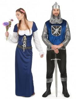 Mittelalter Ritter Paarkostüm blau weiss silber schwarz
