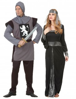 Mittelalter Ritter Paarkostüm schwarz grau silber