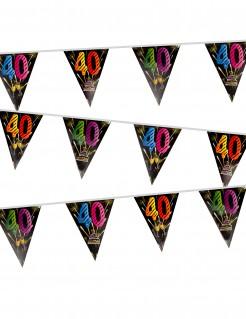 Geburtstags-Girlande 40 Jahre mit Feuerwerksmotiv schwarz-bunt 7m