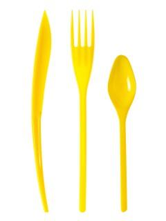 Partybesteck aus Kunststoff Tischdeko 30 Stück gelb