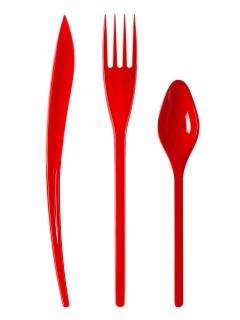 Partybesteck aus Kunststoff Tischdeko 30 Stück rot