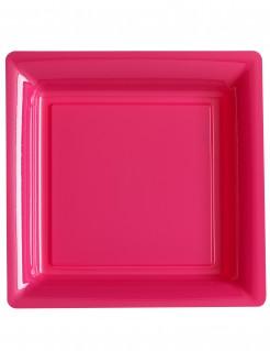 Viereckige Partyteller 12 Stück pink 23,5x23,5cm