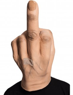 Lustige Mittelfinger-Maske Vollmaske beige