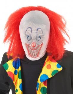 Horror-Clown Halloween-Strumpfmaske mit Perücke weiss-rot