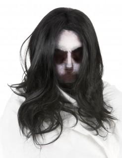 Geistermädchen Halloween-Strumpfmaske mit Perücke weiss-schwarz