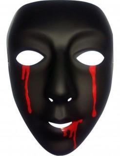 Halloween Theatermaske Damen blutend schwarz-rot