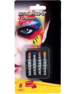 Neon-Schminkstifte 4 Stück bunt