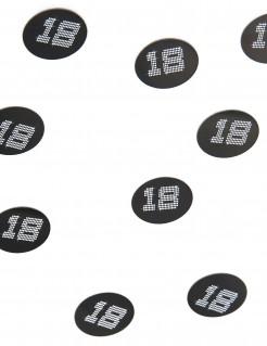 Geburtstagskonfetti 18 Jahre 150 Stück schwarz-weiss 2,5x2,5cm 10g