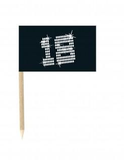 Minifahnen 18. Geburtstag Kuchendeko 10 Stück schwarz