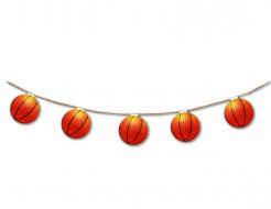 Feuerfeste Girlande Basketball Partydeko 3,20m