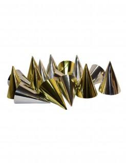 Glänzende Partyhüte im Metallic-Look 100 Stück gold-silber 16cm