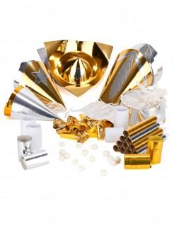 Silvester-Party Accessoire-Set für 10 Personen gold-silber