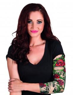 Tattoo-Ärmel für Damen Rocker-Accessoire grün-rot-hautfarben