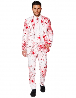 Blutiger Halloween-Opposuit Anzug weiss-rot