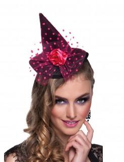 Miniatur Hexenhut mit Tüllverzierung für Damen schwarz-pink