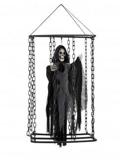 Hängende Halloween Skelettfigur im Käfig schwarz-weiss 50 cm