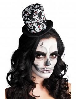 Mini Halloween-Zylinder Skulls schwarz-weiss