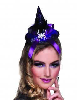 Halloween Haarreif mit Mini Hexenhut für Damen bunt