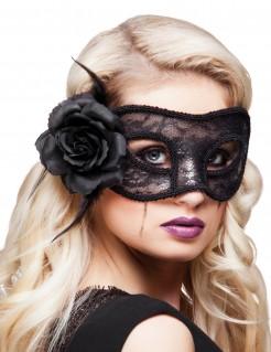 Spitzen-Maske mit Rose schwarz 22cm