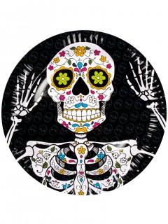 Tag der Toten Teller Halloween Teller Set 6 Stück schwarz-weiss-bunt 23cm