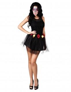Halloween-Tutu Totenköpfe und Rosen schwarz-gelb-rot