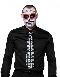 Dia de los Muertos Halloween-Krawatte mit Sugar Skulls Kostüm-Accessoire schwarz-weiss