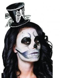 Haarreif mit Mini Zylinder Skelett für Damen schwarz-weiss