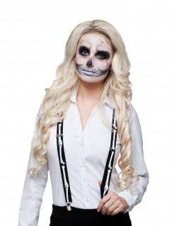 Kostüm Zubehör Hosenträger Skelett für Erwachsene schwarz-weiss